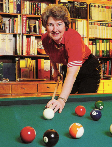 Dr. Jane Burns playing pool